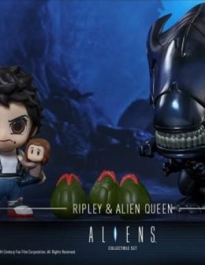 Hot Toys Aliens Ellen Ripley and Alien Queen Cosbaby Set
